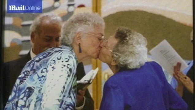 gay couple kissing Elderly